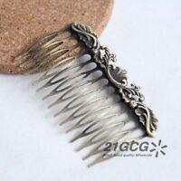 2pcs Antique Vintage Bronze Tone Charm Comb Hair Accessories 55*75mm #1034
