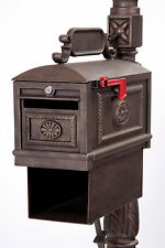 Locking Mailbox BRONZE with Paper Box Secure Cast Aluminum Better Box Mailboxes