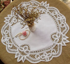 "White HAND Tape Lace Doily Center Piece Cotton Flower ""Circle"" ROUND-Wedding 18"""