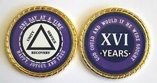 """Alcoholics Anonymous 16 Year Rope Edge Sobriety Coin Chip 1 3/4"""" - Purple/Purple"""