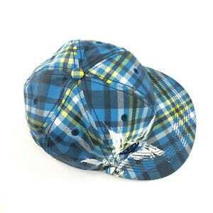"""Cap Hat Plaid Yellow Blue Black White Splatter Star Fitted S/M 21.5"""" by Explicit"""