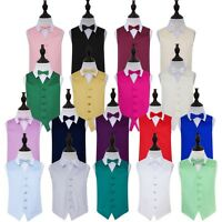 Boys Waistcoat Bow Tie Set Satin Plain Wedding Vest FREE Pocket Square by DQT