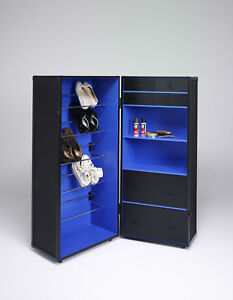 Kofferschrank Schwarz Blau Schuhschrank Schrankkoffer Holz auf Rollen