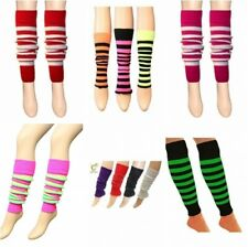 Ladies Women Leg Warmers Plain Stripe Ruched Top Arm Warmer Lurex Fancy Dress
