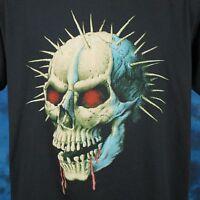 vintage 80s DEMON SKULL PAPER THIN T-Shirt LARGE satan zombie biker punk rock