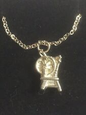 """Spinning Wheel TG306A Fine English Pewter On 20"""" Silver Plated Curb Necklace"""