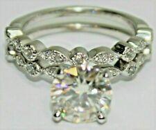 Gold 1.90Ct Equivalent w/ Cubic Zirconia Moissanite Ring Set - 14K White