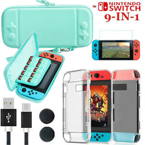 For Nintendo Switch Carrying Case Bag+Shell Cover+Tempered Glass Protector+Cable