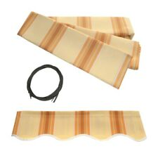 ALEKO Fabric Replacement For 8x6.5 Ft Retractable Awning Multistripe Yellow Col.