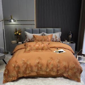bedding set 4pcs quilt cover flat sheet pillow shames 100S cotton embroidery set