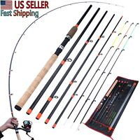 Fishing Pole Carbon Fiber Rod Spinning Travel Rod Carp Fishing Tackle 3m Hard US