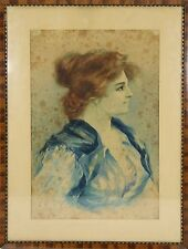 B3-071. BUST OF WOMAN. WATERCOLOR ON PAPER. SIGNED G. STRETTI. 19TH CENTURY.