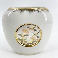 "The Art of Chokin Japanese 4.5"" Tall Mini Vase Made in Japan Hummingbirds Cerami"