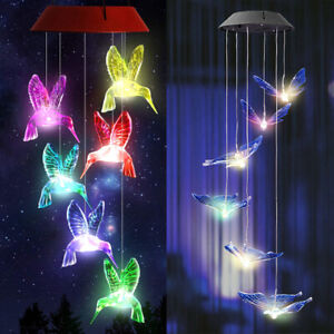 Color-Changing Solar Powered Hummingbird Wind Chime LED Lights Yard Garden Decor