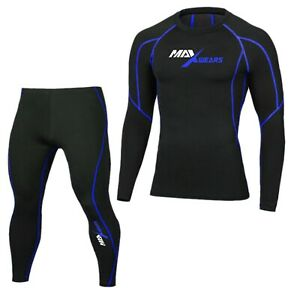 Mens Compression Armour Base layer Top Skin Fit Shirt + Pants Tights set