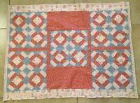 Vintage Patchwork Crib Quilt, Squares, Rectangles, Triangles, Children's Prints