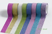 15mm x 5M Sandy Glitter Solid Color Print  Washi tape Pink Purple Green