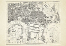 Old map London 1877 #12 repro - Surrey Dock, E & W India Dock, Canning Town, etc