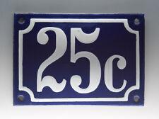EMAILLE, EMAIL-HAUSNUMMER 25c in BLAU/WEISS um 1955