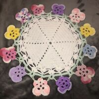 "Vintage Hand Yarn Crochet Table Center Doily Mat 20"" Round Multicolor 3D Flowers"