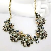 Joan Rivers Jeweled Floral Cluster Pendant Necklace Gunmetal Imitates Anyx