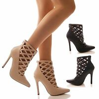 LADIES WOMENS CAGED CUT OUT COURT SHOES POINTY HIGH HEEL FASHION STILETTO SIZE