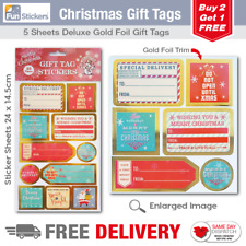Gold Foil Christmas Gift Tag Stickers 55 Pieces - 1703