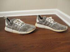 Used Worn Size 13 Adidas NMD_R1 Primeknit Shoes White Gray Black