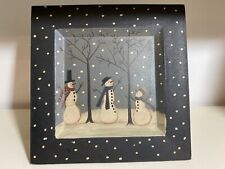 Primitive Plate- Hand Painted- Donna White- Square Snowman Snow Wooden Plate