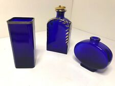 Lot of 3 Cobalt Blue Glass Bottles for Room/Window Decoration