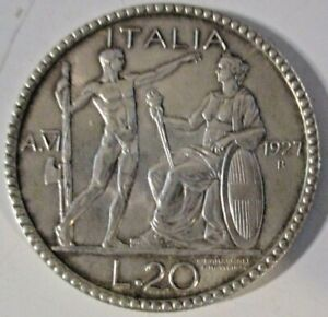 20 LIRE 1927 A. VI LITTORE qFDC RARA ORIGINALE