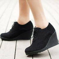 Women's Wedge High Heel Booties Lace Up Round Toe Ankle Boots Casual Shoes new