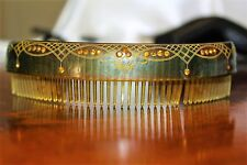 Antique Victorian Rare Moss Green Amber Paste Glass Celluloid Hair Comb BX1