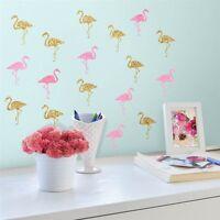 FLAMINGOS 40 BiG Wall Decals Pink Gold Birds Room Decor Stickers Glitter NEW