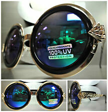 OVERSIZE VINTAGE RETRO Style SUNGLASSES Round Black & Gold Frame Blue Green Lens
