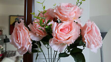 NEW 1 x BUNCH ROSES, VARIEGATED PEACHY PINK, HOME DECOR, BRIDAL, CRAFTS