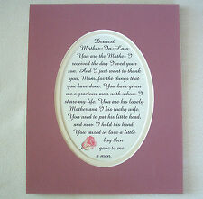 MOTHER IN LAW From DAUGHTER IN LAW Your Son THANK You LOVELY verse poems plaques