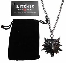 Witcher 3 Wild Hunt Wolf Head Metal Pendant & Chain Necklace w/ Bag