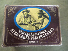 #LL.  TWO PACKS OF PLAYING CARDS IN TIN - BEER LABEL BACKS