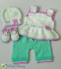 Hand Knitted Baby Top Shorts Hat and Booties Outfit Set 0-3 months