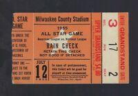 1955 BASEBALL ALL STAR GAME TICKET STUB @ MILWAUKEE - HANK AARON - MICKEY MANTLE