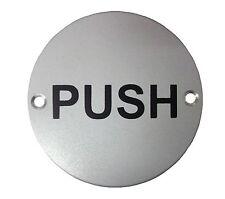 Door Sign Round Disc Push Plate Plaque 75mm Diameter Satin Stainless Steel