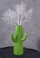 Dekovase Kaktus Vase Grün 30cm Keramikvase Porzellankaktus jungle Pflanzendeko