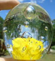 """Lovely Vintage Clear Art Glass Egg Paperweight w/Yellow Flower & Bubbles 3"""""""