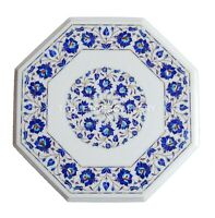 1.5' White Marble Coffee Table Top Mosaic Lapis Floral Inlay Kitchen Decors W163
