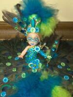 Kelly Masquerade PEACOCK DRESS ~ OOAK ~ Barbie Doll