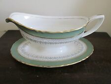 Royal Worcester Regency England Gravy Boat With Attached Under-plate Green