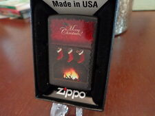 MERRY CHRISTMAS FIREPLACE STOCKINGS CANDY CANES ZIPPO LIGHTER MINT IN BOX 2014