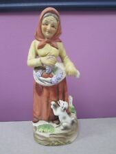 Homco Woman w/dog and grapes Figurine #1417