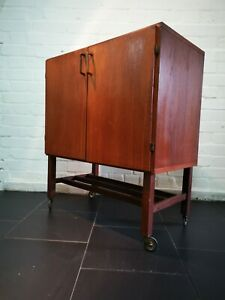 Vintage Mid Century Teak Beech Lined Record Cabinet on Wheels